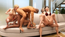 Hot couples role play swingers orgy in Adult World 3D